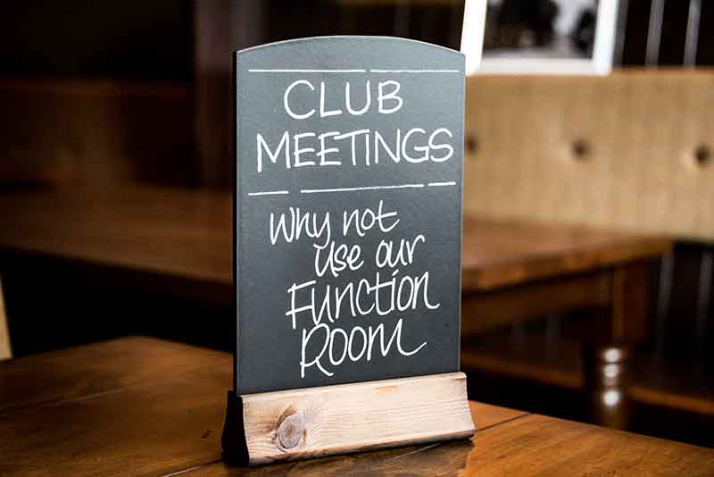 Why not use our function room for your club meetings